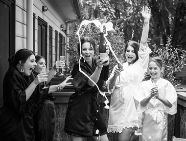 ladies and champagne celebration