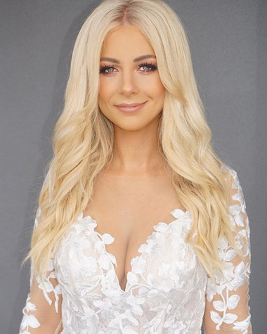 blond lady in white