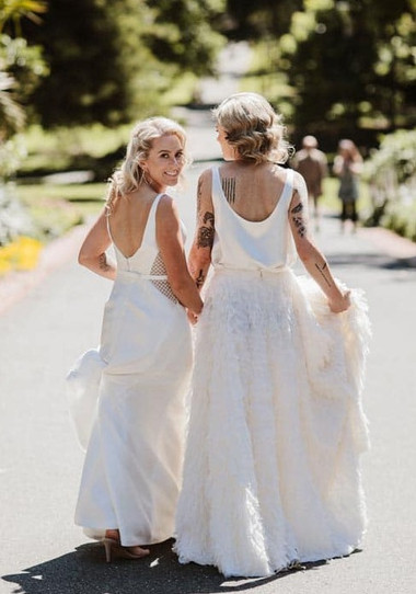 Women in white gown on the street