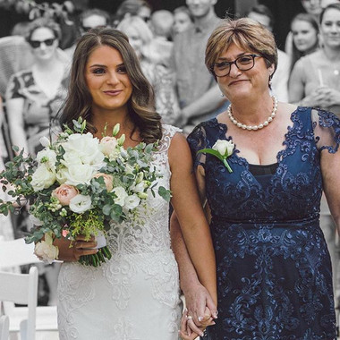 Ladies in white and blue dress