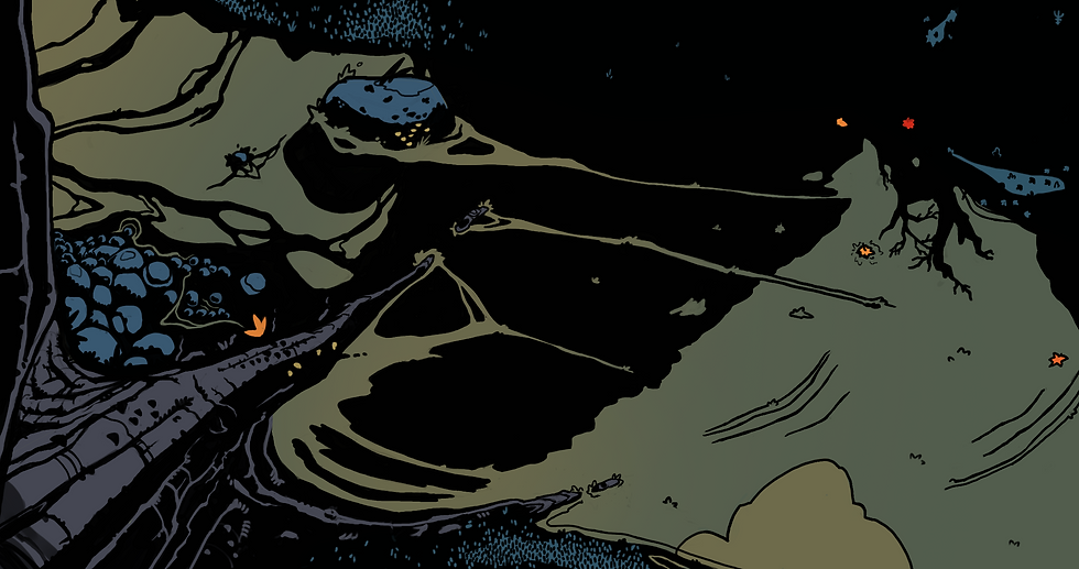 A disorienting, dark illustrated image, looking down from the top of the tree into a river. There are leaves and creatures floating around as well as the reflection of other trees. On top is written Issue 4: Autumn 2020. The logo of Savant-Garde (a polar bear with the big dipper constellation inside of it in the foreground with the crescent moon behind it) is next to the title.