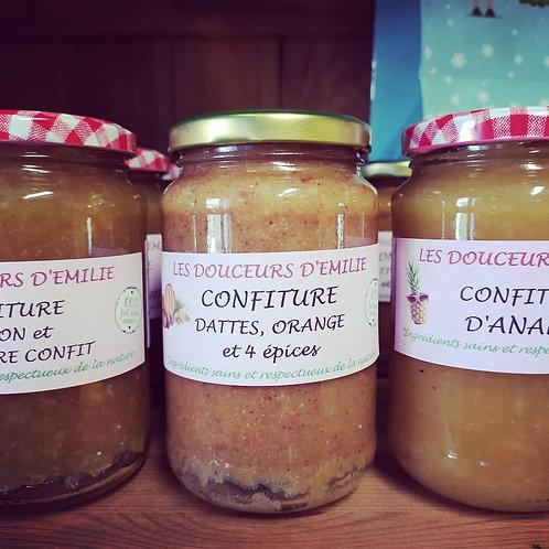 Confiture dattes orange et épices 410g