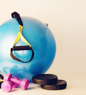pilates ball with dumbbells and trx stri
