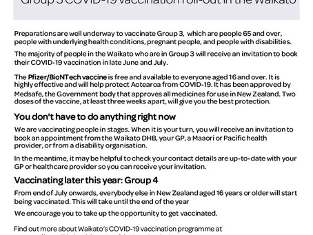 Covid Vaccination roll out - Waikato