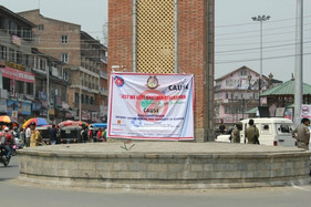 Drug Abuse Awearness banner at lal chowk