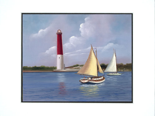 Old Barney Barnegat Lighthouse- mat Print