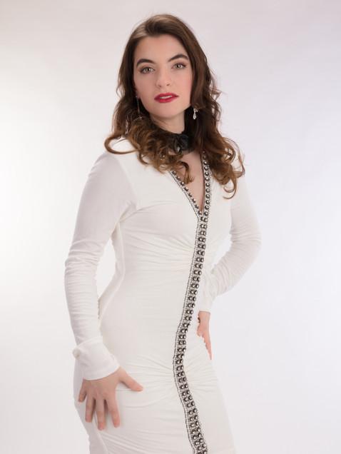 Brunette woman in short white cocktail dress - Medford photographer, John Neilson
