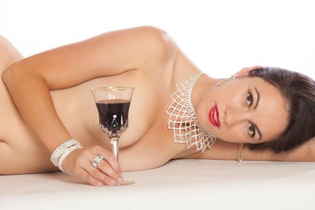 Brunette holding wine glass