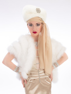 Photo of woman in white fur and gold dress - Medford photographer John Neilson