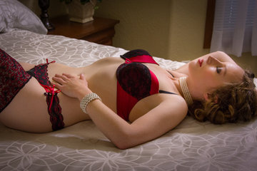Red and black lingerie - by Oregon boudoir photographer, John Neilson