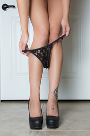 Black lace panty and black heels