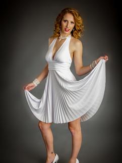 Woman in Marilyn style white dress - Medford photographer, John Neilson