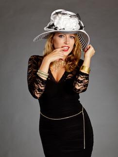 Woman in short black dress with white hat - Medford photographer, John Neilson