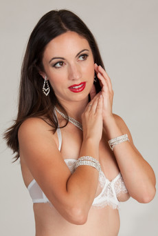 White bra with rhinestone jewelry