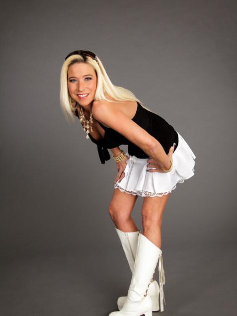 Blonde woman in white skirt and white boots - Medford photographer, John Neilson