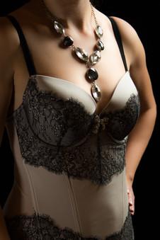 Ivory and black lingerie