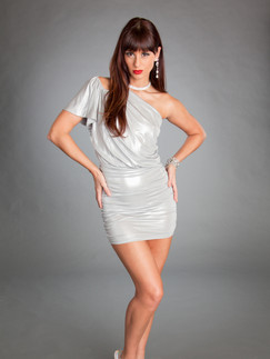 Dark haired woman with bangs in silver cocktail dress - Medford photographer, John Neilson