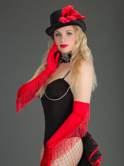 Photo of blonde woman in black and red cabaret costume - Medford photographer John Neilson