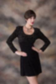 Classic portrait photo of woman wih shrt dark hair in black dress - Medford Photorapher, John Neilson