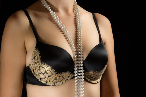 Black and gold bra with pearls