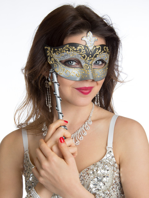 Photo of brunette woman with mask - Medford photographer John Neilson
