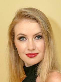 Blonde woman in black top with red lipstick - Medford photographer, John Neilson