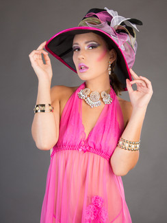 Photo of woman in pink lingerie with hat - Medford photographer John Neilson