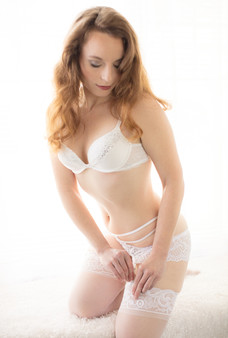 White lingerie with stocking