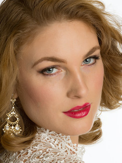 Headshot of woman with red lips and earrings - Medford photographer, John Neilson