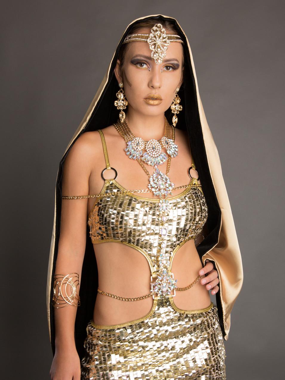 Creative portrait of woman in gold costume - Medford photographer, John Neilson