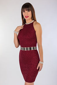 Medford, Oregon portrait photography - Brunette woman with bangs in red cocktail dress