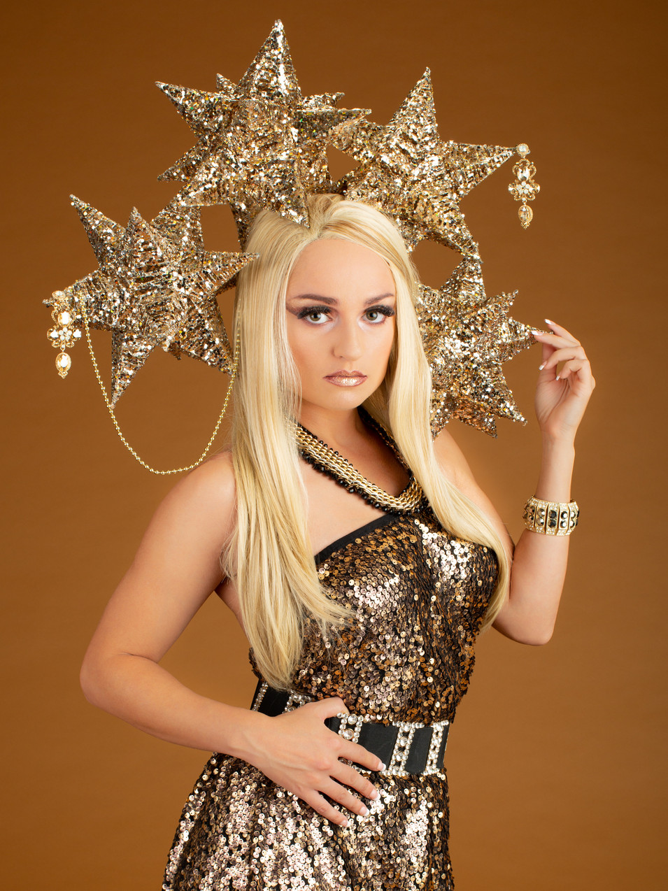 Creative portrait of blonde woman in gold costume with stars - Medford photographer, John Neilson
