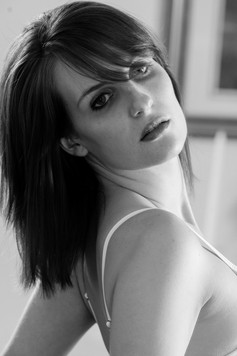 Black and white with dark hair