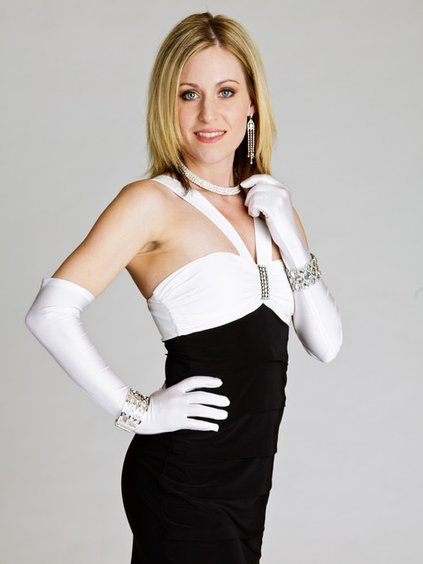 Woman in black and white cocktail dress with white gloves - Medford photographer, John Neilson