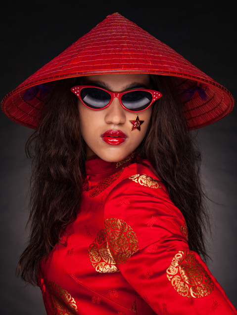 Photo of woman in red Asian dress and hat - Medford photographer John Neilson