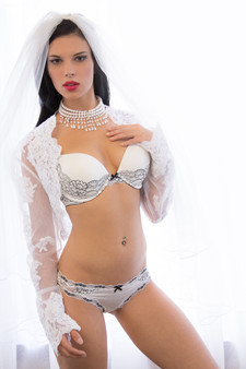 Black and white bridal lingerie