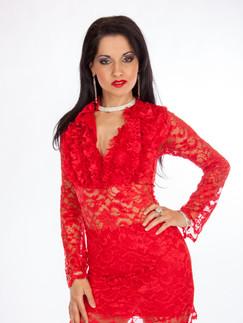 Dark haired woman in short red lace dress - Medford photographer, John Neilson