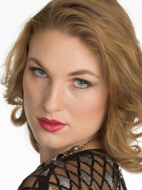 Headshot of a woman with blue eyes and red lips - Medford photographer, John Neilson