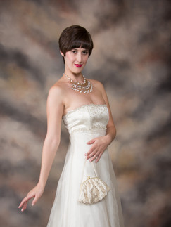 Classic portrait of short haired woman in white gown - Medford photographer, John Neilson