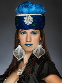 Photo of woman in blue hat with blue lipstick - Medford photographer John Neilson
