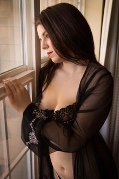 Black lingerie and robe