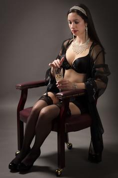 Black lingerie in chair
