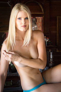 Blonde with blue panty