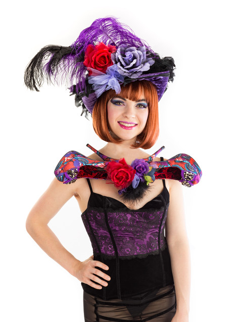 Photo of woman in black and purple feather costume - Medford photographer John Neilson