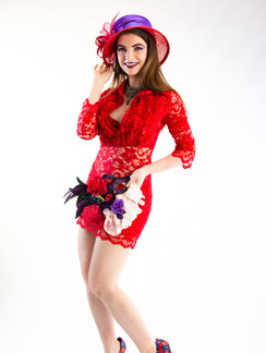 Photo of woman in red lace dress and hat - Medford photographer John Neilson