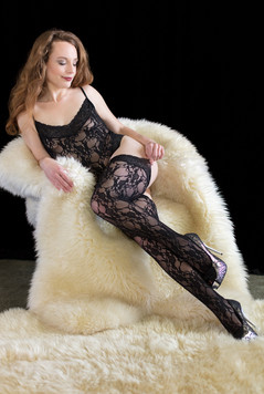 Black lace stockings and white fur
