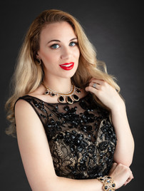 Portrait photo of blonde woman in black lace evening gown - Medford photographer, John Neilson