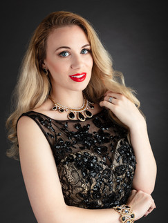 Blonde woman in black lace dress - Medford photographer, John Neilson