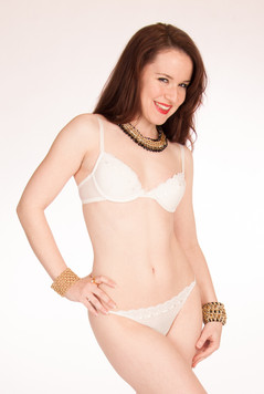 White lingerie with gold jewelry