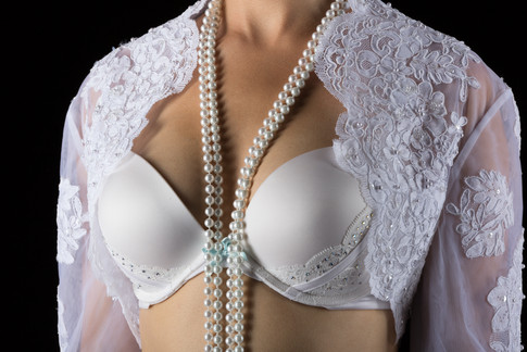White with lace and pearls
